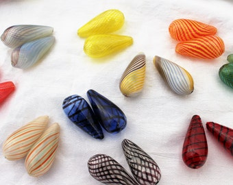 4 MATCHED PAIRS - Blown Glass Beads - Teardrop, Hollow, Assorted Colors 30mm x 14mm