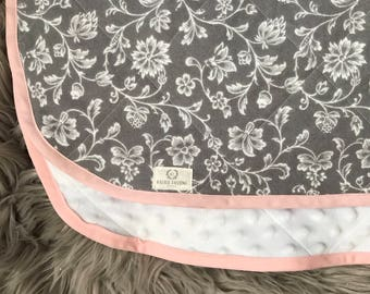 Gray & White Floral Flannel and Minky Baby Blanket