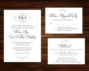 Classic Wedding Invitation & RSVP Card by PrintablePapery [printable]