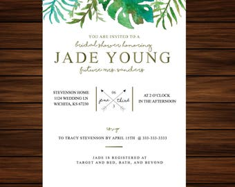 Tropical Wedding Shower Invitation by PrintablePapery [printable]