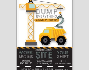 PRINTABLE Construction Birthday Invitation | Dump Truck, Construction Theme, Caution Bday, Under Construction, Dump Everything, Boy Birthday