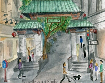 "Watercolor Print ""Entrance to Chinatown (scene 1)"""