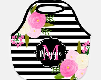Floral Lunch Bag- Personalized Lunch Bag Tote - Beach Cooler - Monogrammed - Custom - Insulated - Neoprene - PERSONALIZED FREE