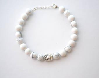 Silver Howlite Energy Beaded Gemstone Bracelet