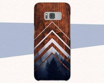 Geometric Faux Wood Galaxy S8 Case, Geometric Samsung Galaxy S7 S6 S5, Wood Galaxy A5, Galaxy A3, Trees Samsung Galaxy S8 Plus, Galaxy  Case