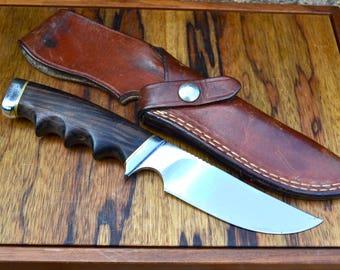 Vintage Gerber 475s Big Game Hunting Knife | Gerber 475 Presentation Series Outdoor Knife | 1970s Gerber 475s Hunting Knife With Sheath