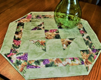 Modern Hexagon,Wine, Grapes, Tuscany Table Topper Green, Purple and Pink Table Topper