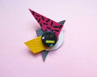 Brooch, geometric brooch, memphis design, eighties inspired, brightly coloured, hand painted