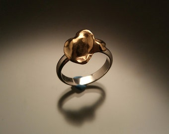 Bronze Water Cast Sterling Silver Ring Size 6.5