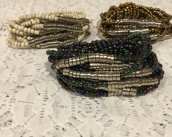Seed Bead Stretch Bracelet Set