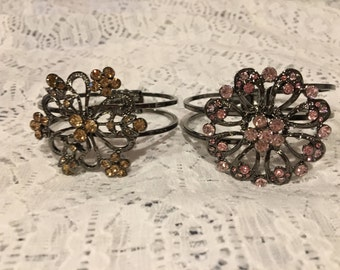 Flower Crystal Cuff Bracelet Set