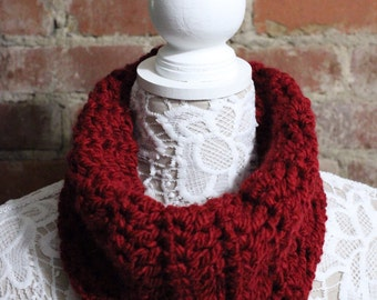 Cowl Neck Scarf - Red