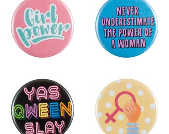 """Girl Power 8 Pack of 1.25"""" Button Pins"""