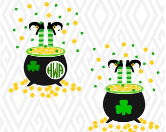 Pot of Gold St Patrick's Day Cuttable Design in SVG; DXF; PNG; Ai; Pdf; Eps