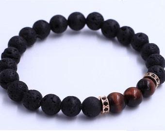 Red Tiger Eye w/ Lava stone Bracelet