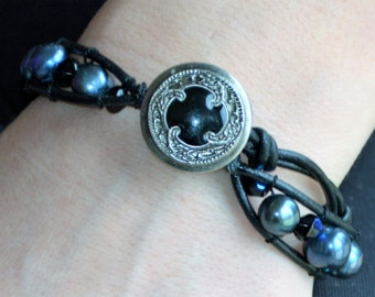Midnight Blue on Black Single Leather Wrap Bracelet