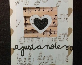"Handmade blank ""Just a Note"" card with envelope"