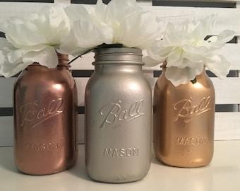 Set of 3, Metallic Mason Jars with Peonies