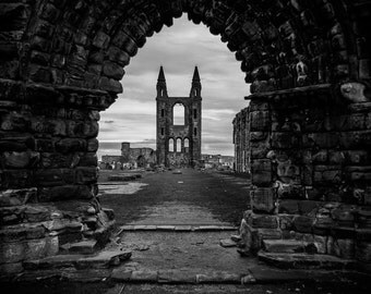 black and white landscape photography, fine art photography, church, reformation, scotland, st. andrews, cathedral