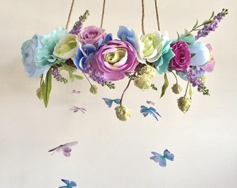 Flower Mobile, Nursery Mobile, Baby Girl Mobile, Butterfly Mobile, Floral Mobile, Rustic Mobile