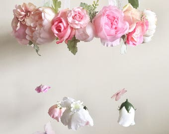 Flower Mobile, Nursery Mobile, Baby Girl Mobile, Princess Mobile, Floral Mobile, Pink Mobile, Butterfly Mobile