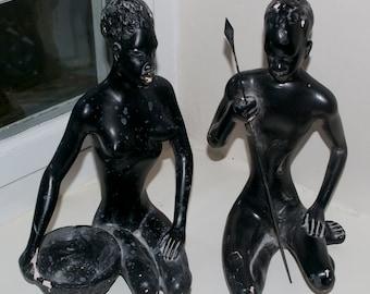 Pair of Vintage 1950's Italian Made Black African Figure Sculptures Plaster Africa Warrior