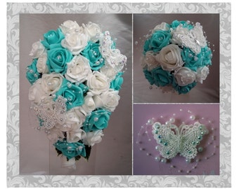 Wedding Flowers Tiffany Blue & White wedding bouquets with butterflies, Brides, Bridesmaids, Flowergirls etc