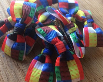 Lego style printed ribbon hair bow clips- BACK IN STOCK!