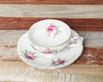 Vintage Tea Cup with Saucer Lefton-Rose Tea Cup-Tea Garden Party-Mini Tea Cup and Saucer Gold Trim-Dainty Victorian Shabby Chic