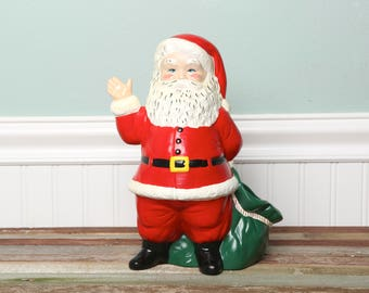 Vintage Christmas Ceramic Planter-Vintage Santa with Sack Indoor Planter-Tall Retro Christmas Santa Clause-Duncan Ceramics-Classic