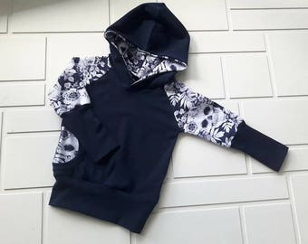 Evolutionary Hoodie skulls marine blue