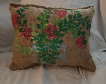 The Rose Burlap Pillow