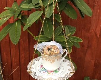 Vintage Tea Cup bird feeder , China bird feeder, Garden ornament, Mothers Day, Tea light, Easter