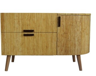 Record player cabinet, mid century style, stereo cabinet with LP album storage, bamboo, vinyl LP,