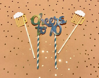 Cheers to Any Age Cake Topper