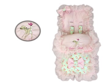 Personalised Meadow Floral Frilly Bambi Cosytoes Footmuff