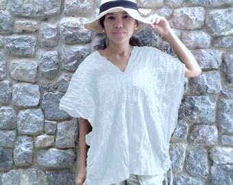 V neck Blouse, White Cotton Blouse, Casual Top, Whi Beach Cover Up, Bohemian Boho Top, Wide Kimono Sleeve Retro Shirt - Karen TOP008
