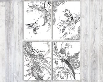 Coloring set, Adult coloring, Color in, Coloring pages, Nature illustration, DIY art, DIY decor, Best friend gift, Anniversary gift