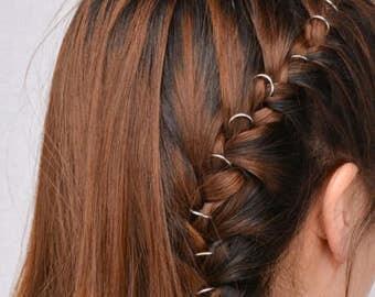 10 Silver Hair Rings - Hair Jewelry - Festival - Festival Hair Accessories - Hair Rings