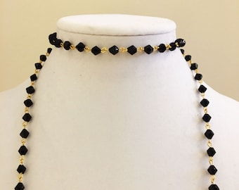 Black Rosary Double Wrap
