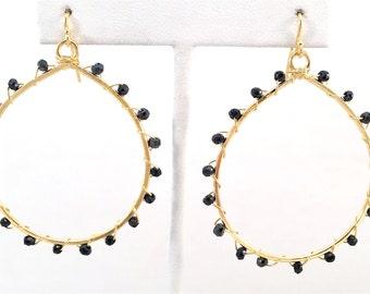 Spinel Teardop Dangle Hoop Earrings, Handmade, 18K Micron Yellow Gold Plated, Modern Trendy Earwire Hoops