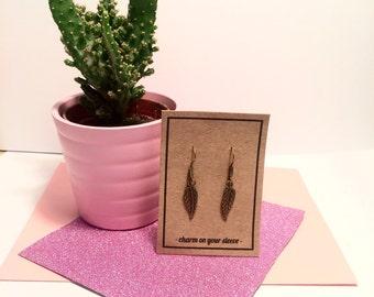 Tibetan bronze feather dangle earrings