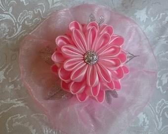 Pink Flower Hair Clip, Satin Organza Hair Flower, Gift for Her Teen, Kanzashi Hair Flower, Handmade, Hair Accessory, Prom Hair Jewelry