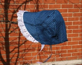 polka dot dark blue denim bonnet