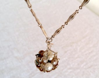 Signed Coro Pendant Necklace Vintage, Glass Pearls in Drop Basket, Link Chain, Vintage Costume Necklace, Rare Signed Coro 1919-1935