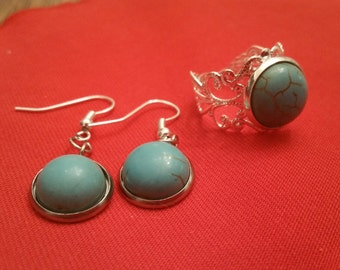 Turquoise stone earring and ring set