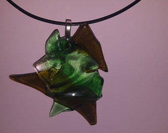 Mixed green glass pendant
