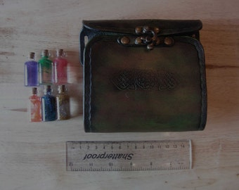 Green/Brown 6 Bottle Potion Holder, LARP, Role Playing