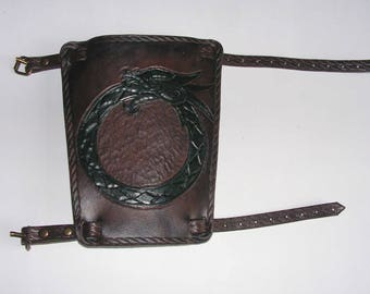 Brown & Green Hand Carved Dragon Bracer LARP, Role Playing