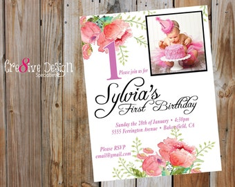 First Birthday Girl Custom Printable Invitation, with personalized photo, Floral Watercolor, 1st burthday, baby girl birthday, flowers